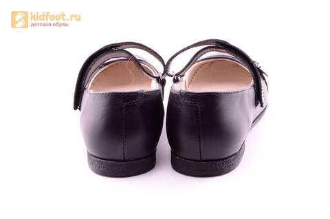 Туфли для девочек из натуральной кожи на липучке Лель (LEL), цвет черный. Изображение 8 из 20.