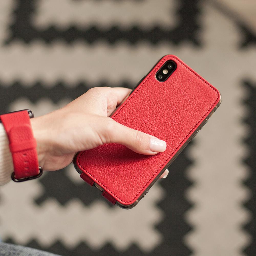 Чехол для iPhone X/XS из натуральной кожи теленка, красного цвета