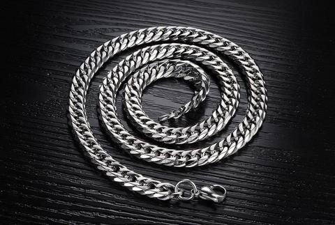 Брутальная мужская широкая цепь 8 мм длиной 56 см двойное панцирное плетение из нержавеющей ювелирной медицинской хирургической стали 316L mn087