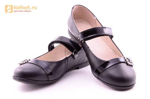 Туфли для девочек из натуральной кожи на липучке Лель (LEL), цвет черный. Изображение 9 из 20.