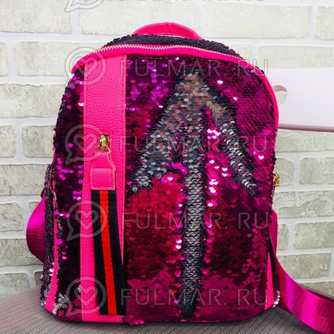 Рюкзак малиновый с пайетками меняющий цвет Малиново-Серебристый с молнией LOLA
