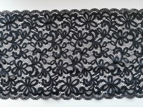 Эластичное кружево, 24 см, черное, (Арт: EK-1078), м