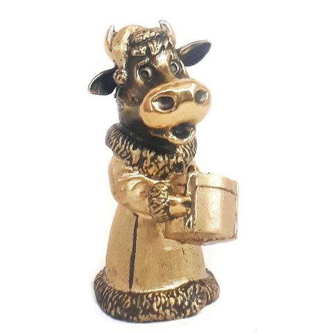 Колокольчик «Корова Буренка» - Символ 2021 года. Бронза, 10см