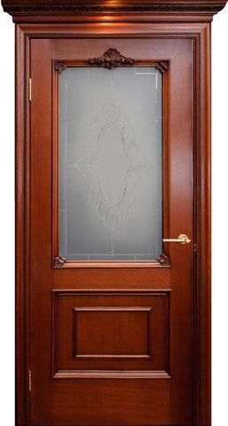 Дверь Гранд Модерн Бордо (красное дерево, остекленная, массив хвойных пород)