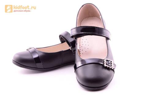 Туфли для девочек из натуральной кожи на липучке Лель (LEL), цвет черный. Изображение 10 из 20.