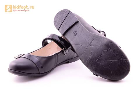 Туфли для девочек из натуральной кожи на липучке Лель (LEL), цвет черный. Изображение 11 из 20.