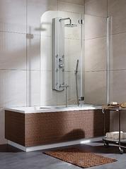 Шторка на ванну  Radaway Eos PND  130x152 правая, крепится справа, профиль хром, стекло прозрачное 205201-101R