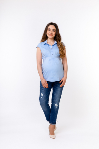 Рубашка для беременных 01314 голубой