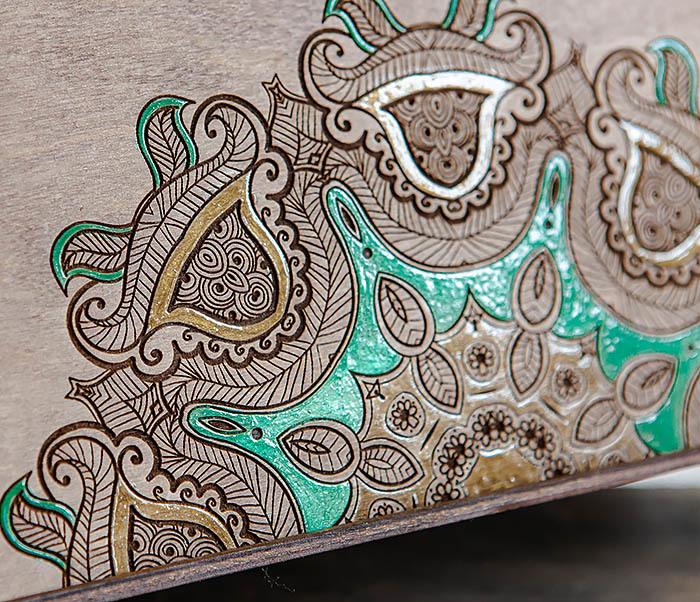 BOX234-3 Подарочная коробка «Мандала» с ручной росписью (25*25*12 см) фото 04