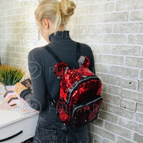 Рюкзак с круглыми ушками «Минни» меняют цвет пайетки Красные-Зеркальные