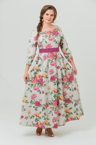 Платье льняное Мелодия любви в пол