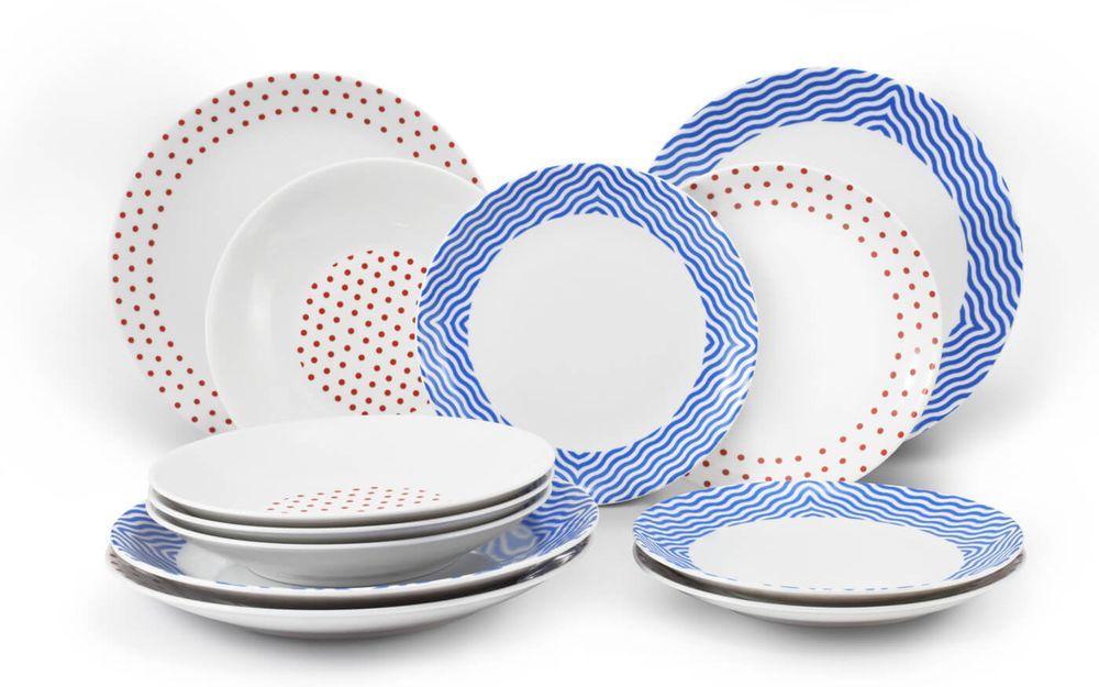Набор тарелок 12 предметов с тарелками десертными 21 см BE FREE Leander MIX