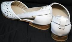 Балетки кожаные женские Evromoda 286.85 Summer White.