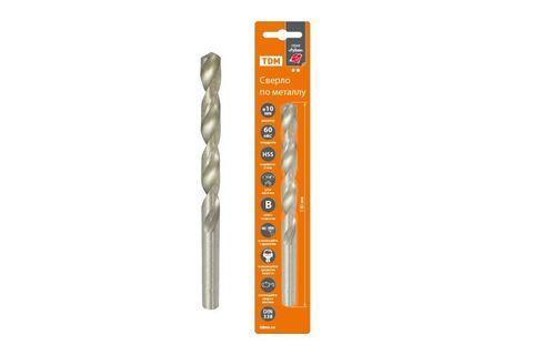 Сверло по металлу, 10 мм, полир., HSS, класс точн. В, 118⁰, цилиндр. хв., блистер 1 шт,