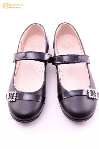 Туфли для девочек из натуральной кожи на липучке Лель (LEL), цвет черный. Изображение 13 из 20.