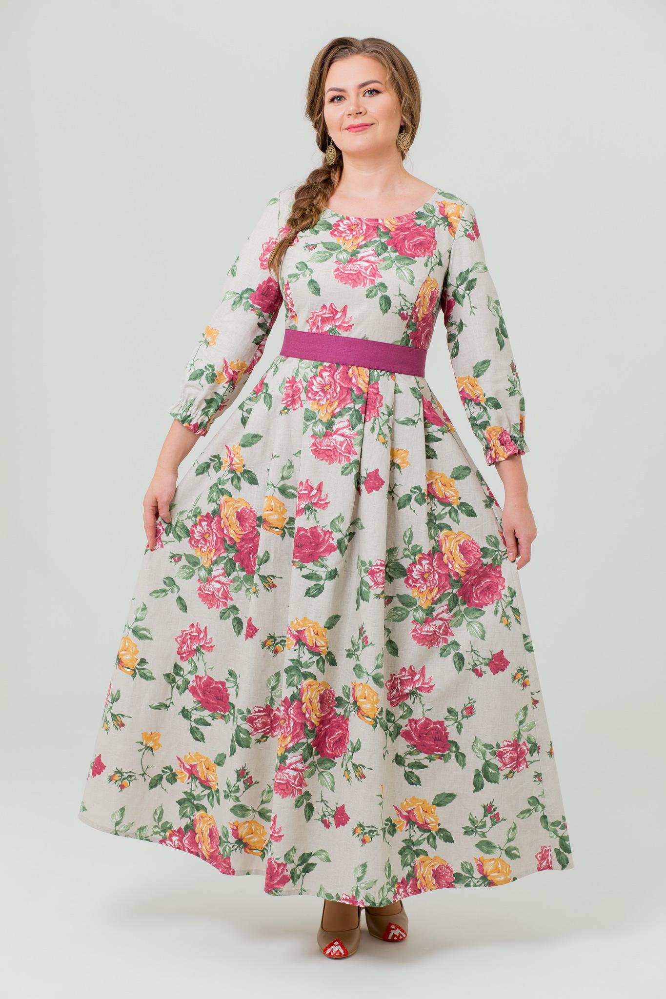 Платье льняное Мелодия любви с поясом