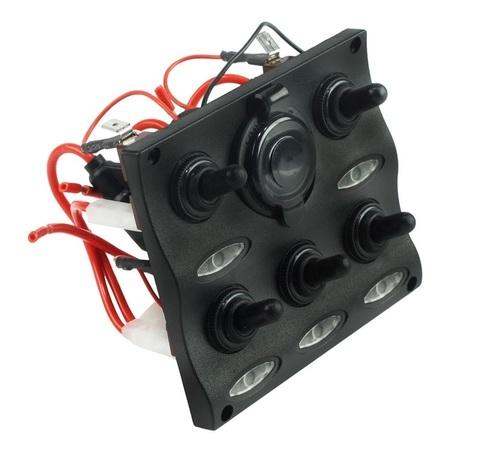Панель переключателей (5 шт) с предохранителями постоянного тока