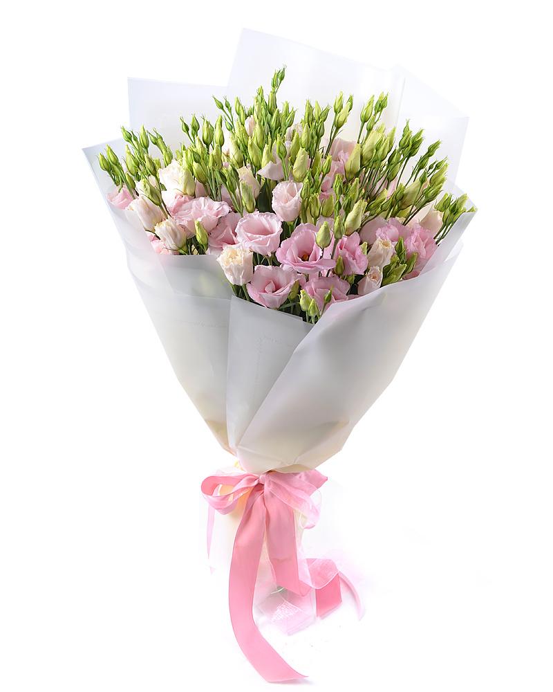 Букет из 21 розовой эустомы