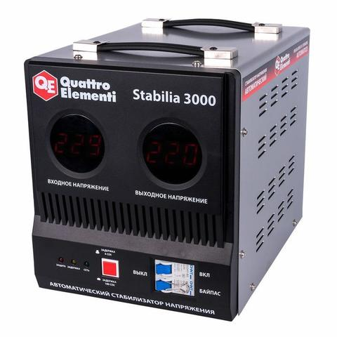 Стабилизатор напряжения QUATTRO ELEMENTI Stabilia  3000 (3000 ВА, 140-270 В, 8.0 кг, байпа (772-074)