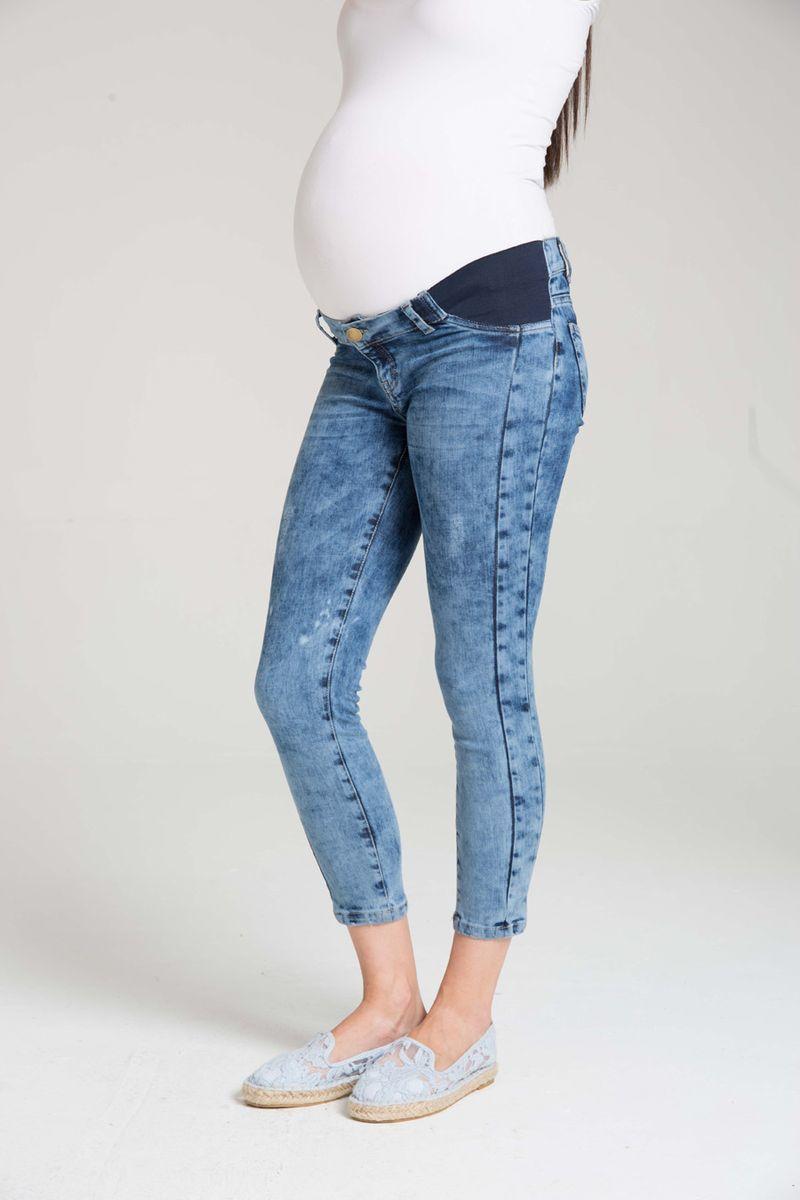 Фото джинсы для беременных GEBE, зауженные, средняя посадка, боковые трикотажные вставки от магазина СкороМама, синий, размеры.