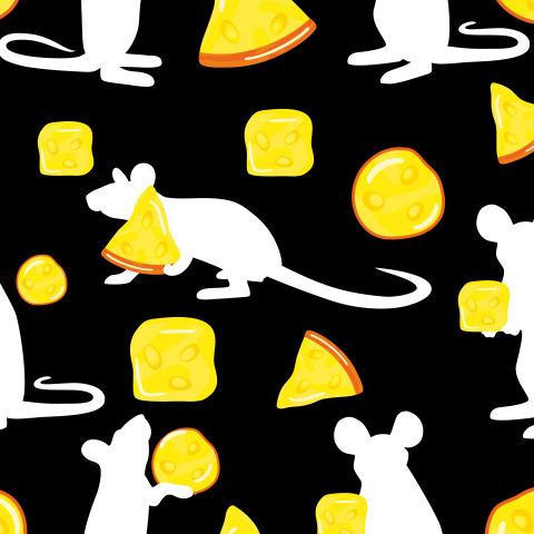 Мышка с сыром на черном фоне