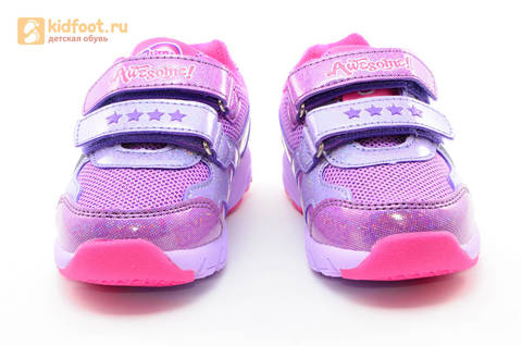Светящиеся кроссовки для девочек Пони (My Little Pony) на липучках, цвет сиреневый, мигает картинка сбоку,  5873B. Изображение 5 из 15.