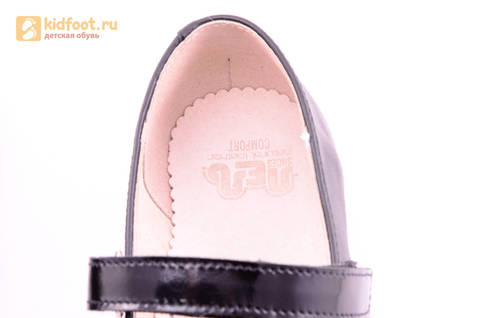 Туфли для девочек из натуральной кожи на липучке Лель (LEL), цвет черный. Изображение 16 из 20.