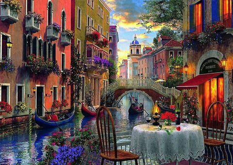 Картина раскраска по номерам 40x50 Романтический ужин в Венеции