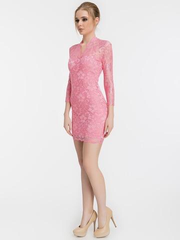 Розовое кружевное платье с V-образным вырезом 1