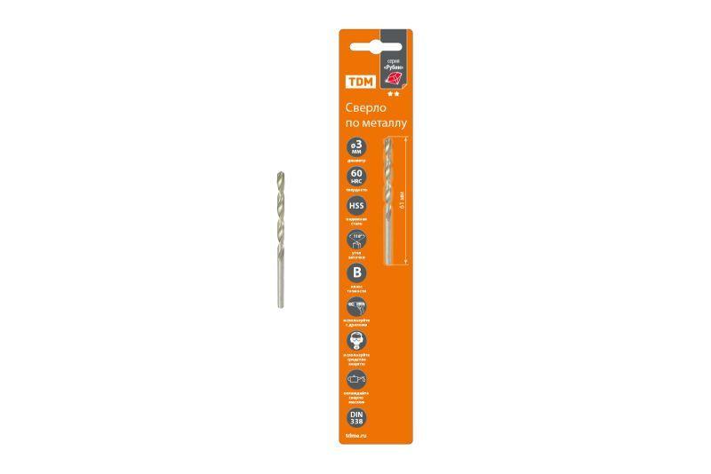 Сверло по металлу, 4 мм, полир., HSS, класс точн. В, 118?, цилиндр. хв., блистер 1 шт,