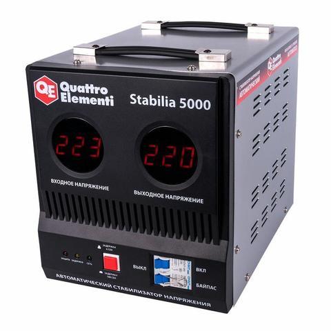 Стабилизатор напряжения QUATTRO ELEMENTI Stabilia  5000 (5000 ВА, 140-270 В, 9.9 кг, байпа (772-081)
