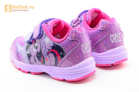Светящиеся кроссовки для девочек Пони (My Little Pony) на липучках, цвет сиреневый, мигает картинка сбоку,  5873B. Изображение 7 из 15.