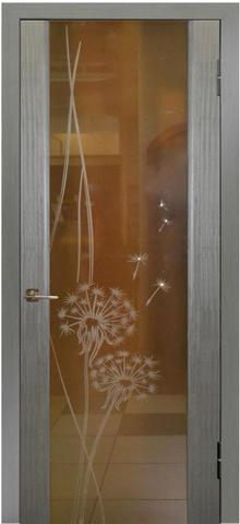 Дверь Модерн (стекло одуванчики) (серый дуб, остекленная шпонированная), фабрика LiGa