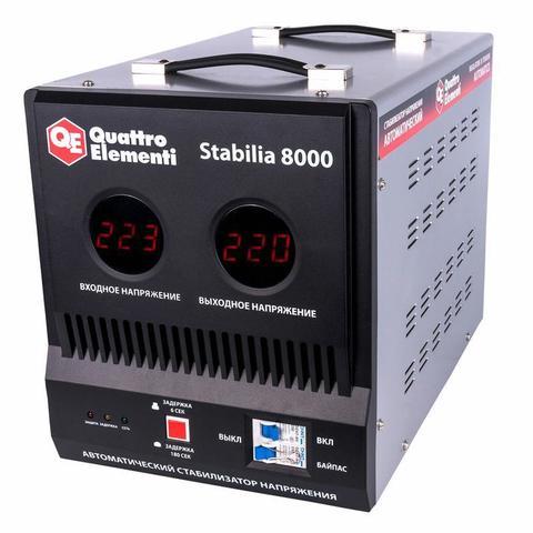 Стабилизатор напряжения QUATTRO ELEMENTI Stabilia  8000 (8000 ВА, 140-270 В, 16.5 кг, байп (772-098)