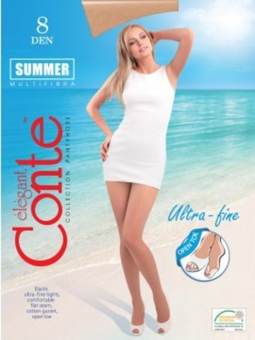 Conte Summer Open Toe Колготки женские 8d, p.2 bronz
