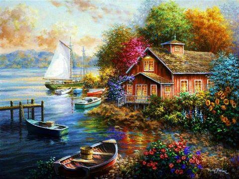 Картина раскраска по номерам 40x50 Лодки у дома