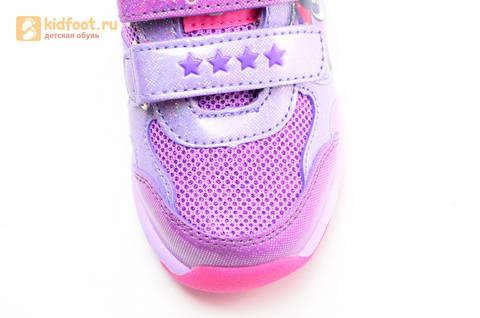 Светящиеся кроссовки для девочек Пони (My Little Pony) на липучках, цвет сиреневый, мигает картинка сбоку,  5873B. Изображение 11 из 15.