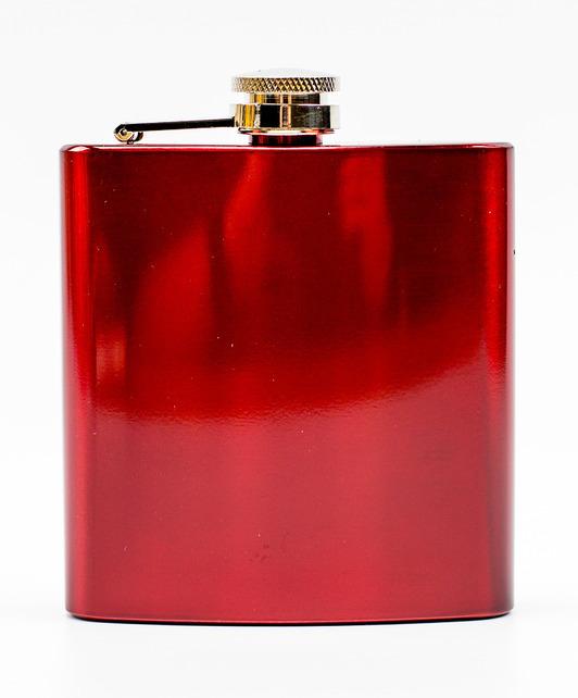 Фляжка Карманная, красная фляжка бутылка с карабином 350 мл
