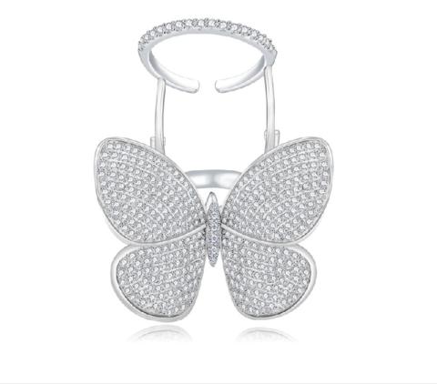 Кольцо c двигающейся бабочкой из серебра с белыми цирконами