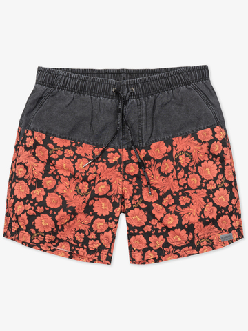 Винтажные пляжные шорты «Красная хохлома»