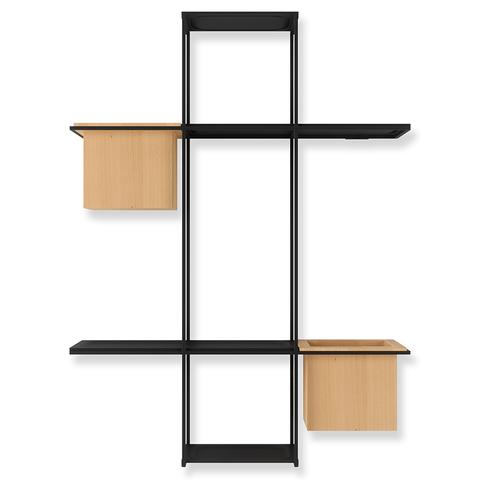 Полка-органайзер с 2 кашпо Cubist Multi черная