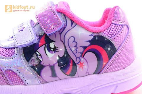 Светящиеся кроссовки для девочек Пони (My Little Pony) на липучках, цвет сиреневый, мигает картинка сбоку,  5873B. Изображение 12 из 15.