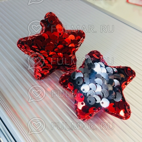 Набор резинки для волос с двусторонними пайетками меняют цвет Красный-Серебристый (2 шт.)