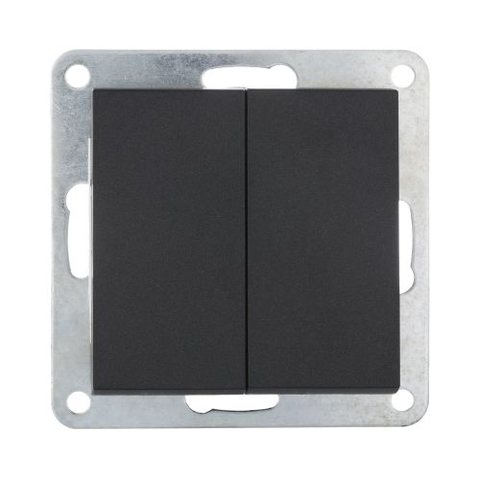 Выключатель двухклавишный (схема 5) 16 A, 250 В~. Цвет Чёрный бархат. LK Studio LK80 (ЛК Студио ЛК80). 841108