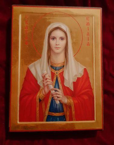 Икона святая Эмилия на дереве на левкасе мастерская Иконный Дом