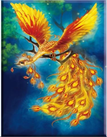Алмазная Мозаика 20x30 Жар-птица на голубом фоне