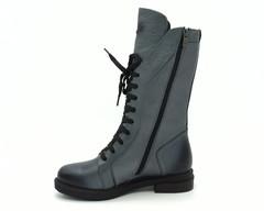 Серые зимние ботинки из натуральной кожи