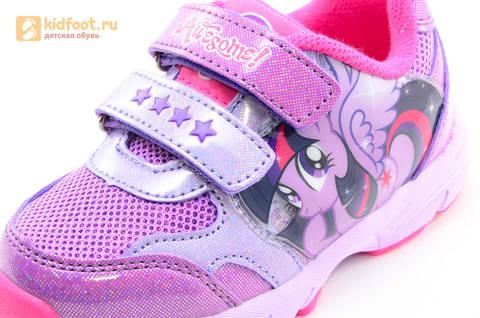 Светящиеся кроссовки для девочек Пони (My Little Pony) на липучках, цвет сиреневый, мигает картинка сбоку,  5873B. Изображение 13 из 15.