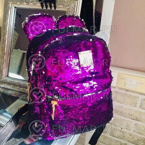 Рюкзак с пайетками и Ушами меняет цвет Фиолетовый-Серебристый Пупс