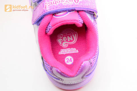 Светящиеся кроссовки для девочек Пони (My Little Pony) на липучках, цвет сиреневый, мигает картинка сбоку,  5873B. Изображение 14 из 15.